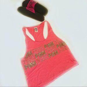 VS Pink Cropped Bling Racer Back Tee